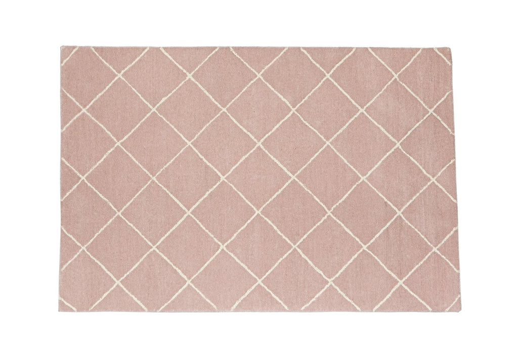 Woolen Hand Tufted Rectangle White Pink Salmon Peach Diamond Rhombus Mountain Rug 120 x 80 New Zealand Australia