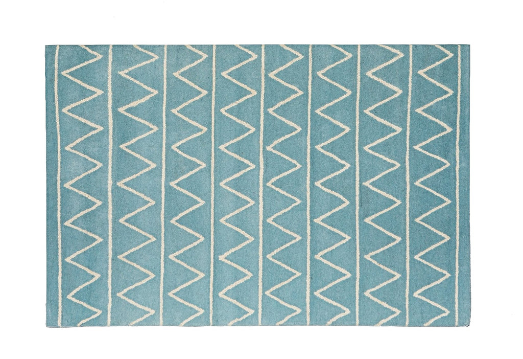 Woolen Hand Tufted Rectangle White Blue Light BLue Zig Zag Mountain Rug 120 x 80 New Zealand Australia