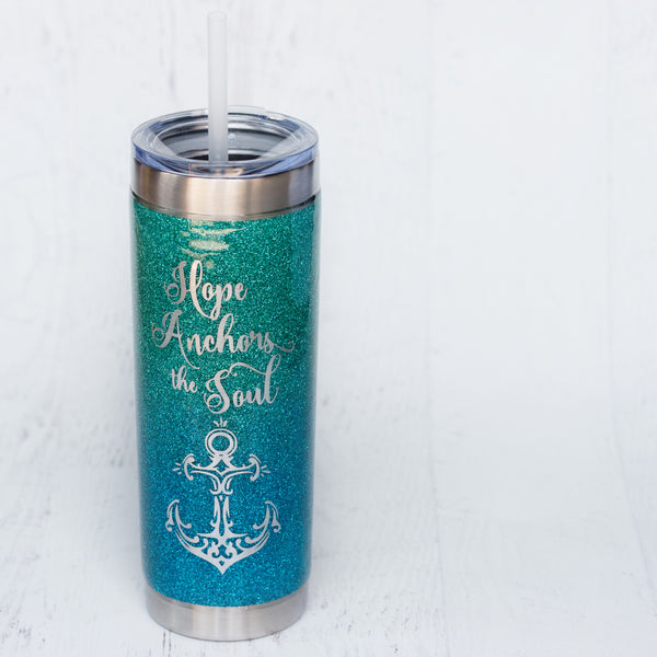 20oz Hope Anchors the Soul Glitter Tumbler