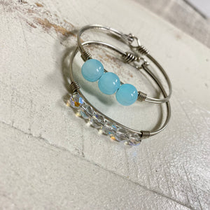 Light Blue & Clear Semi Gem Hook Back Bangle