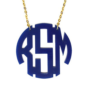 Circle Block Monogram Necklace