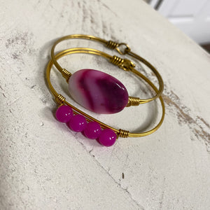 Pink Stone & Beaded Hook Back Bangle