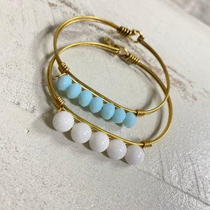 Blue & White Hook Back Bangle