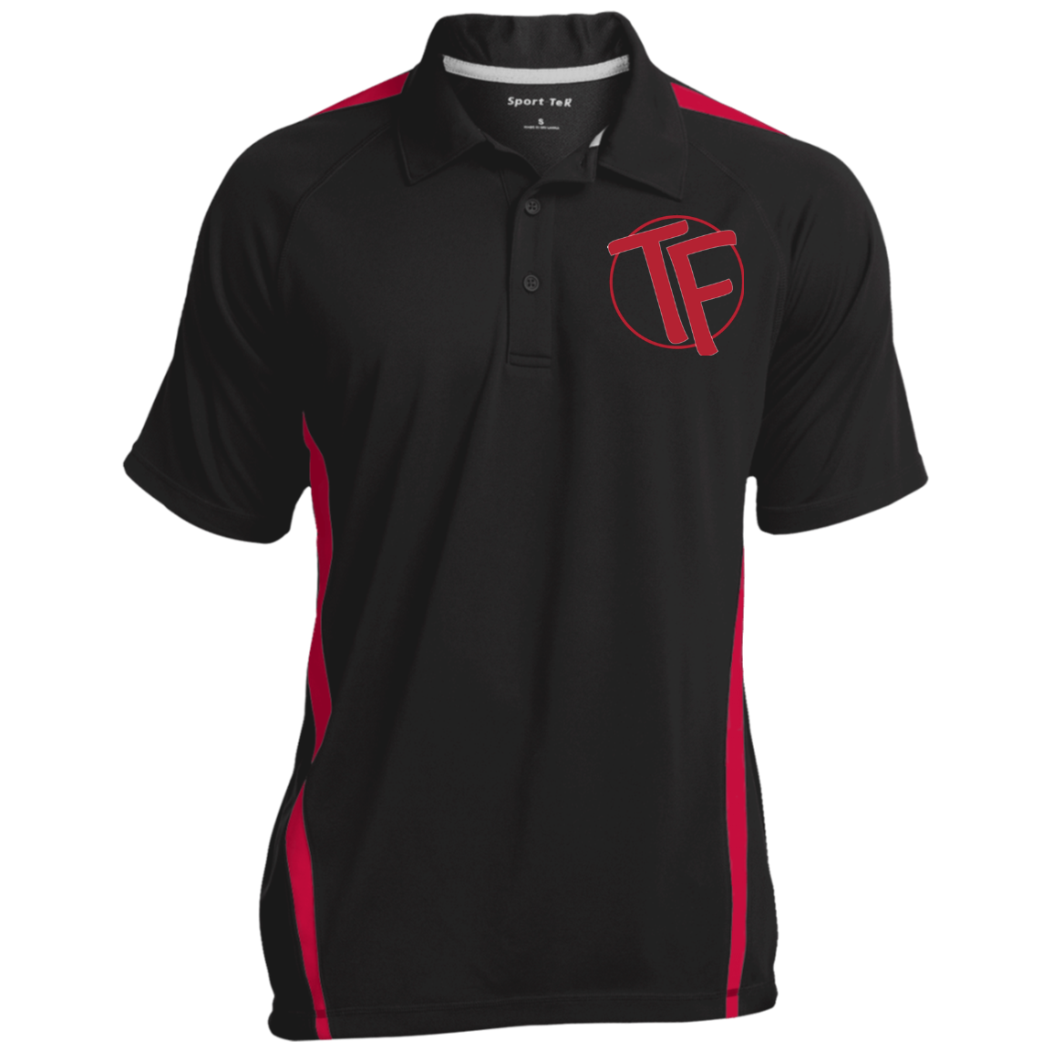TYFE Black/Red Men's Colorblock 3-Button Polo