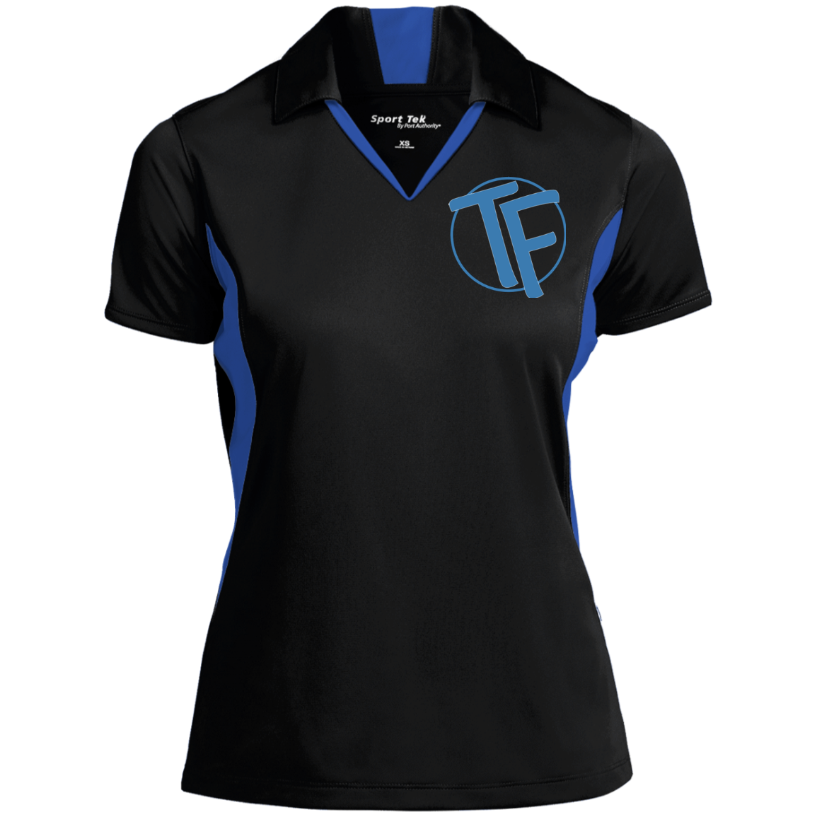 TYFE Women's Black/Blue Colorblock Performance Polo