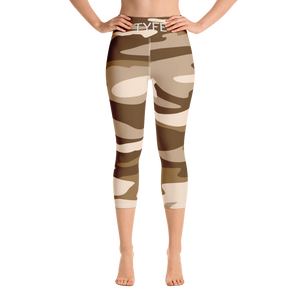 TYFE Brown Camouflage Yoga Capri Sport Leggings