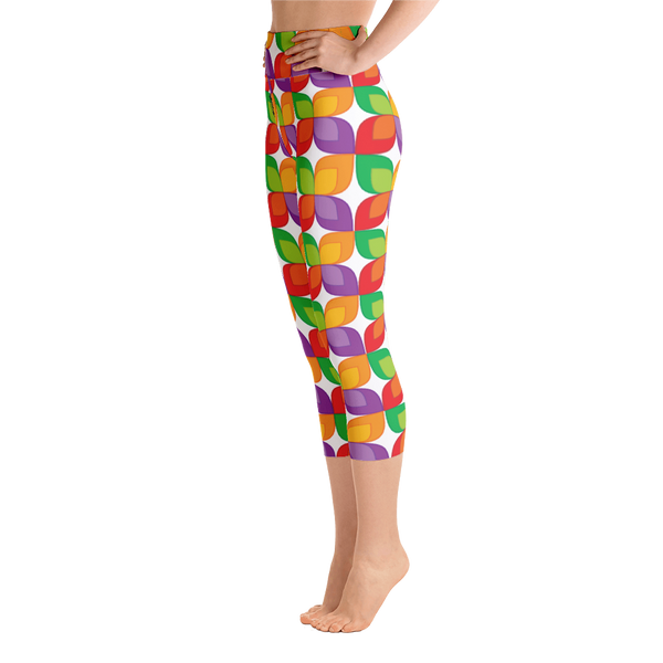 TYFE White And Color Flowers Yoga Capri Leggings