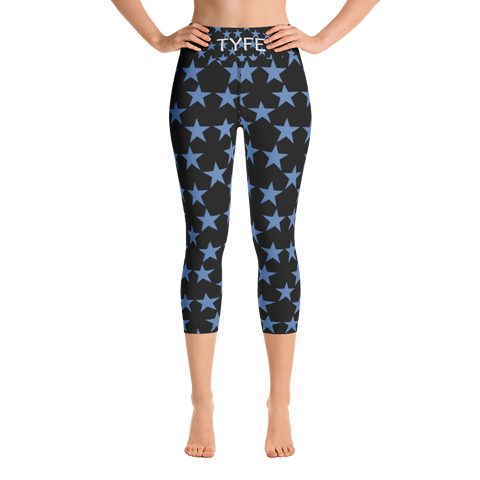 TYFE Black And Blue Stars Yoga Capri Sport Leggings
