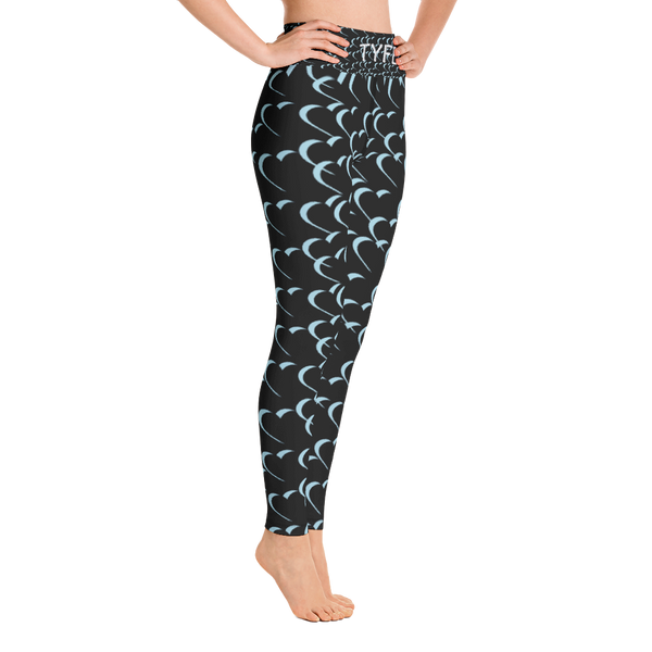 TYFE Black And Blue Hearts Yoga Sport Leggings