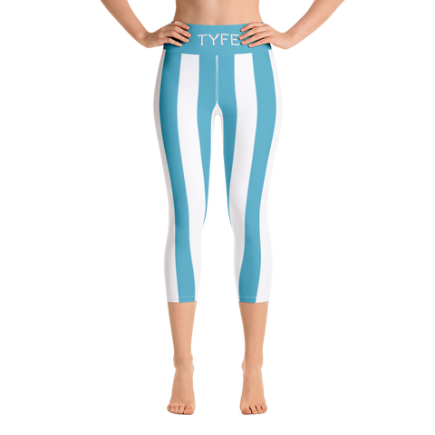 TYFE White And Blue Strip Yoga Capri Sport Leggings