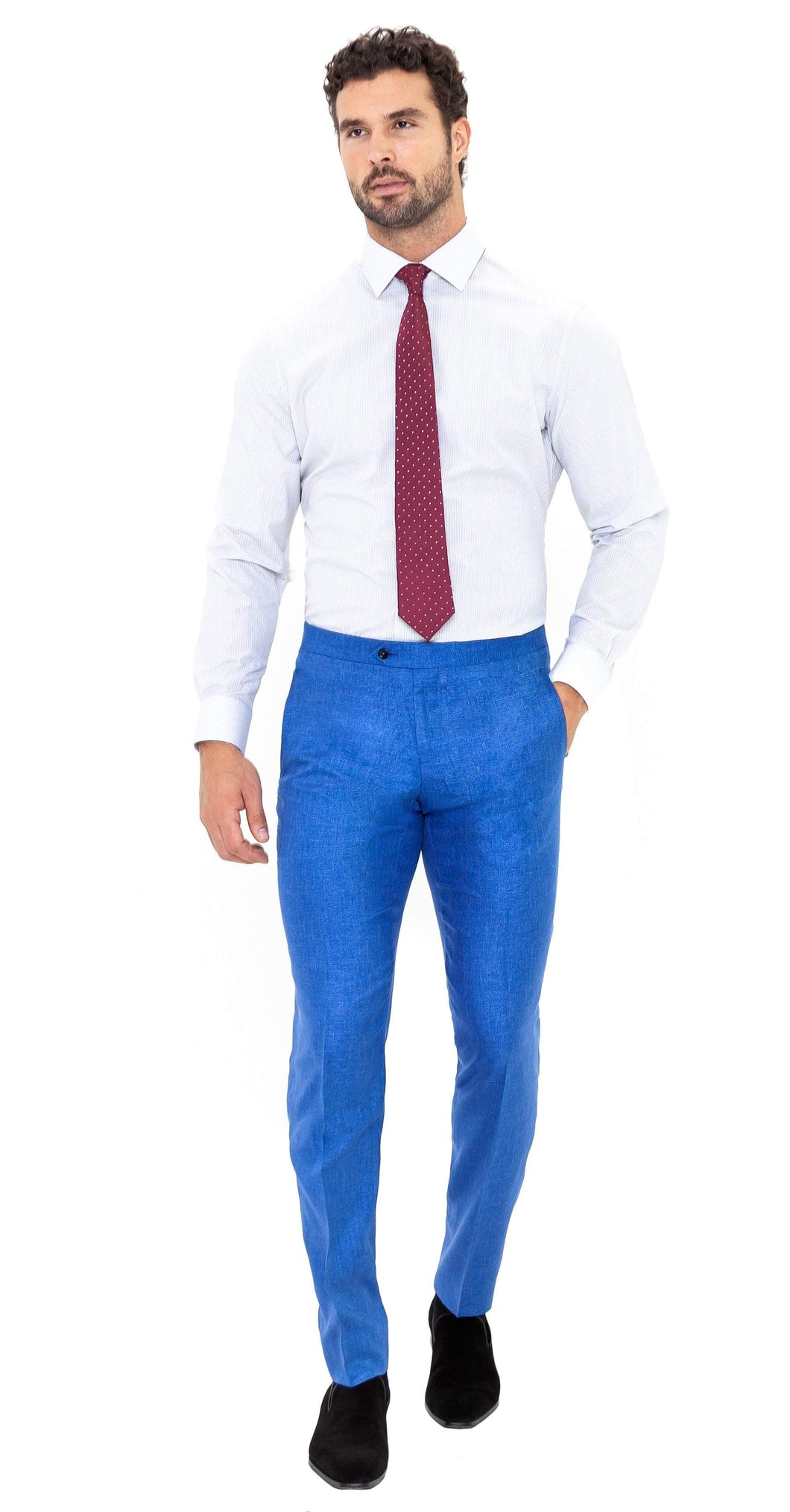 100% Silk Blue Textured Trouser - Enzo Custom