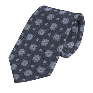 Blue Silk and Cotton Blend Foulard Tie - Enzo Custom