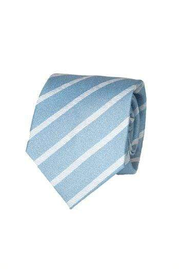 Blue Silk Stripe Seven Fold Tie - Enzo Custom