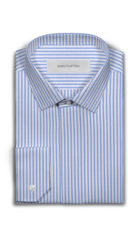 Cotton Blue Stripe Dress Shirt - Enzo Custom