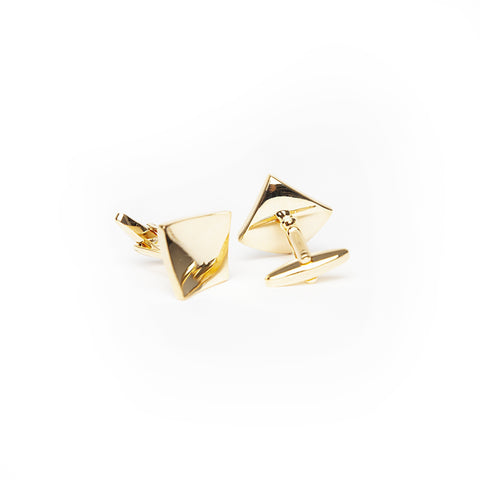 Curved Gold Diamond Cuff Link - Enzo Custom