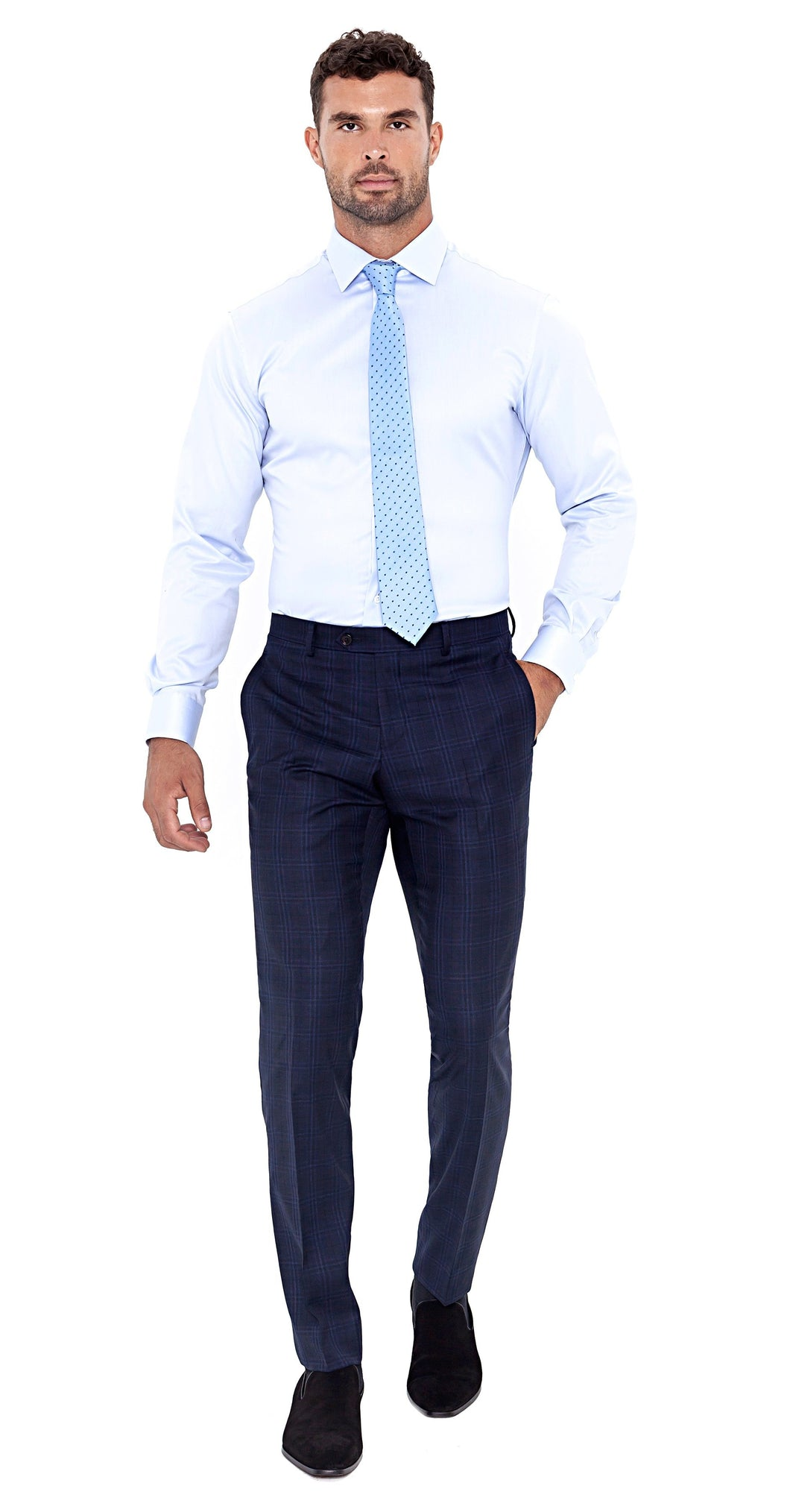 Four Seasons Super 130s Navy Windowpane Trouser - Enzo Custom