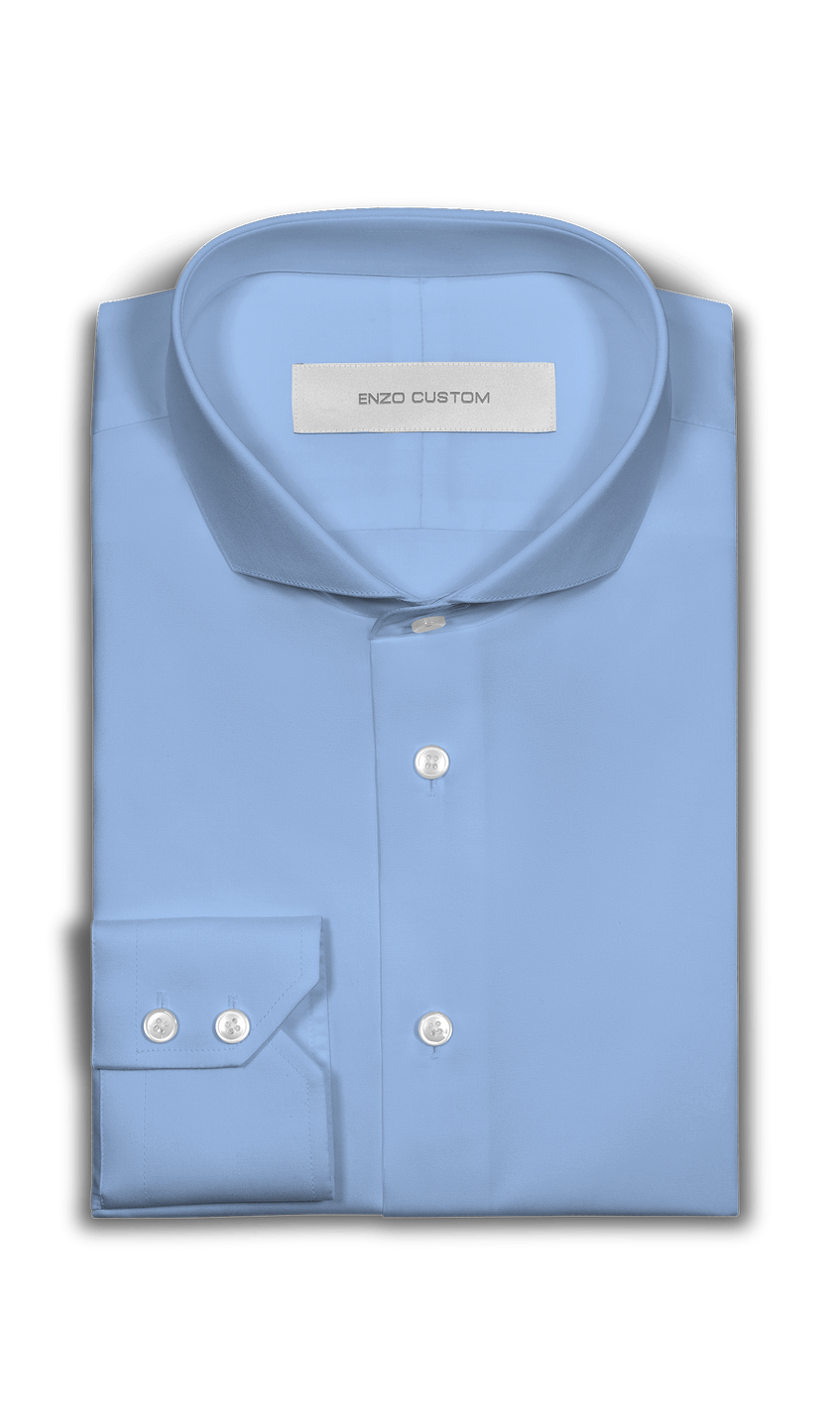 Light Blue Bamboo Blend Dress Shirt - Enzo Custom