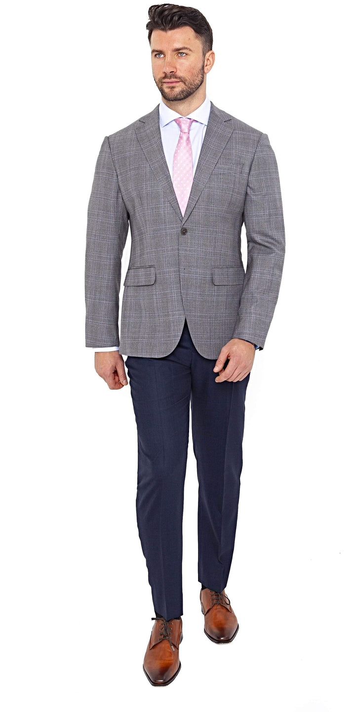 Loro Piana Super 200s Grey Plaid Jacket - Enzo Custom
