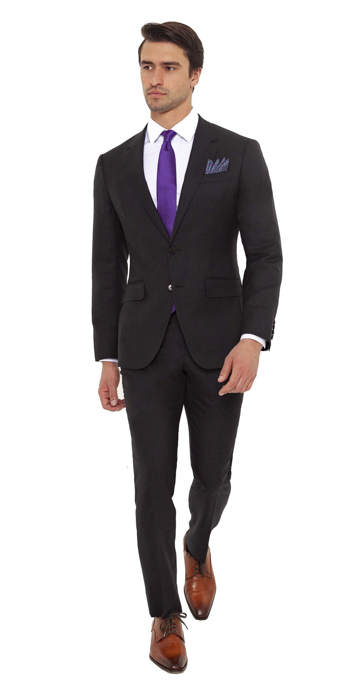 Enzo Sartori Suit Mark Conte TGES191 Enzo Sartori Super 120's Wool Charcoal Solid SUIT