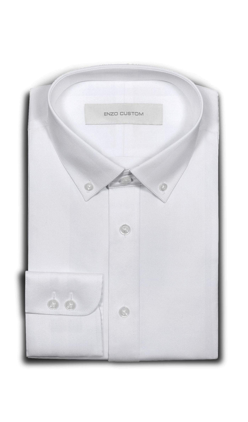 Non-Iron Cotton White Solid Casual Shirt - Enzo Custom