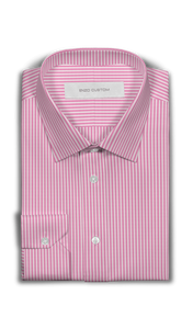 Pink/White Striped Dress Shirt - Enzo Custom