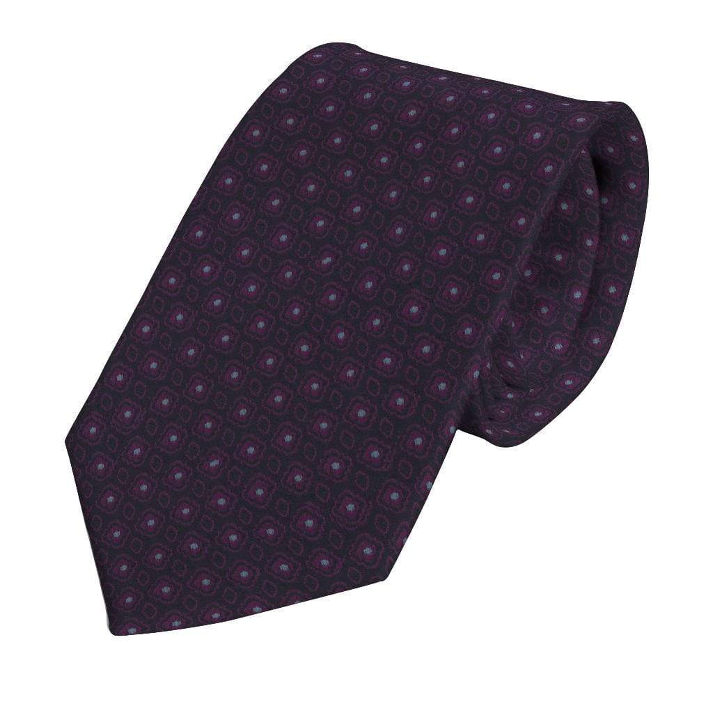 Purple Silk Floret Medallion Tie - Enzo Custom