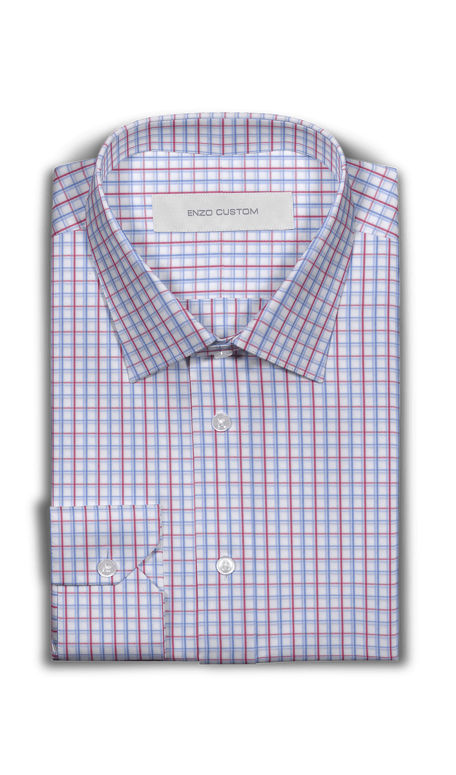 Red/Blue Check Dress Shirt - Enzo Custom