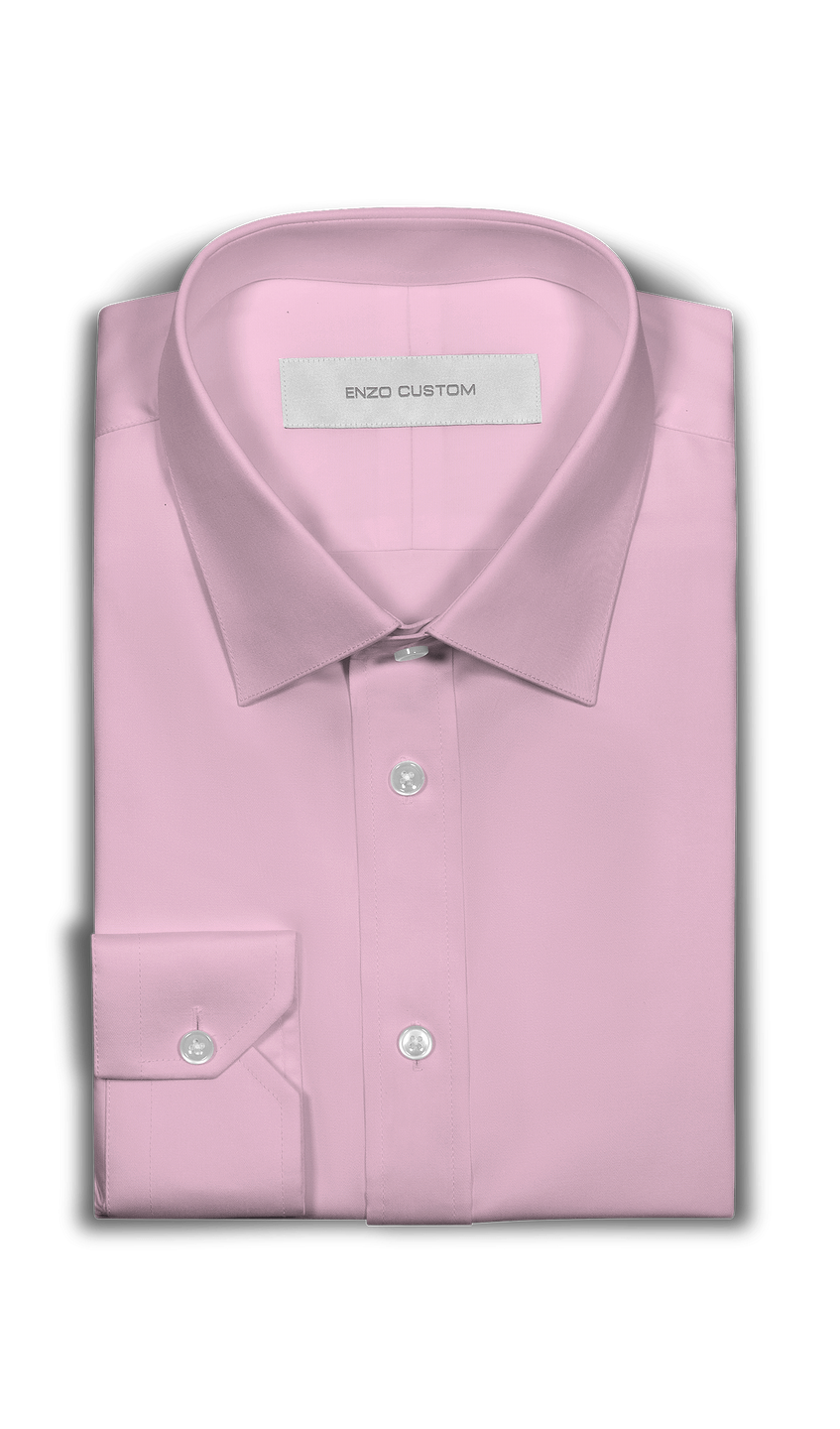 Solid Pink Cotton Dress Shirt - Enzo Custom