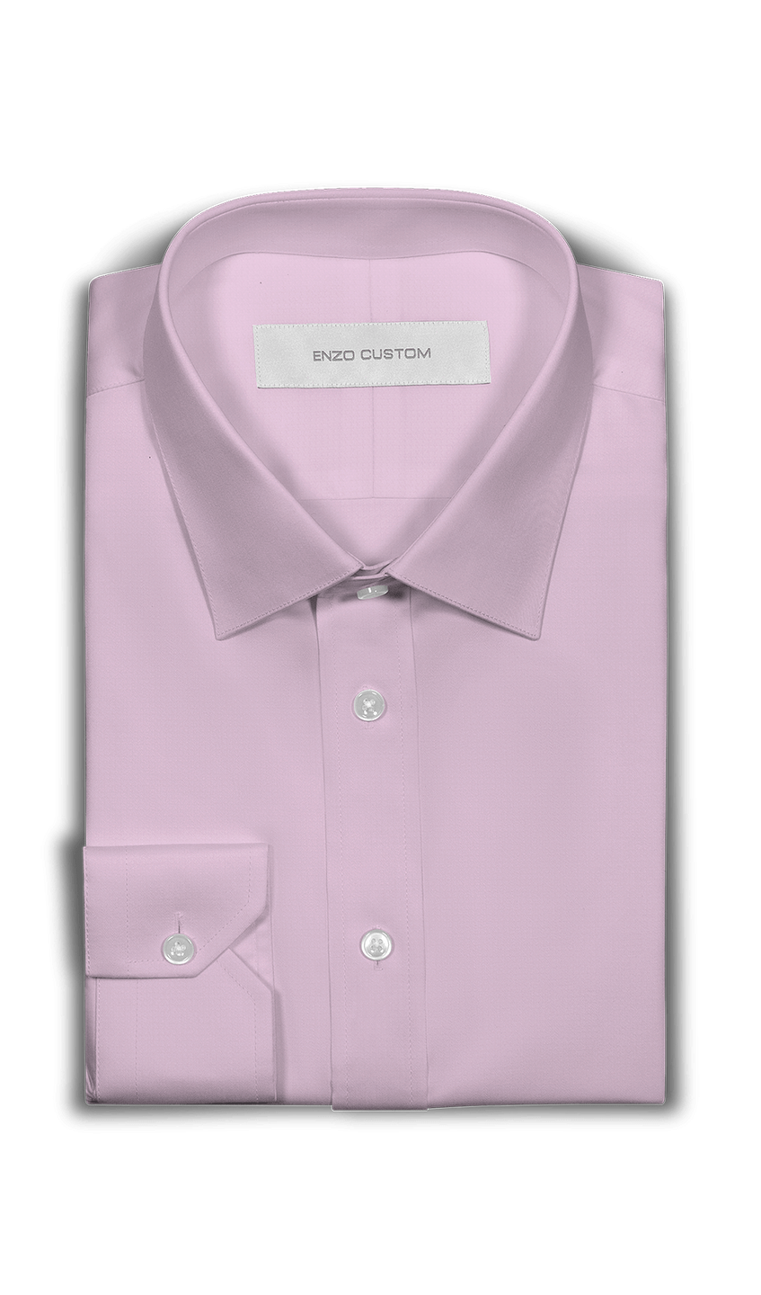 Solid Pink Dress Shirt - Enzo Custom