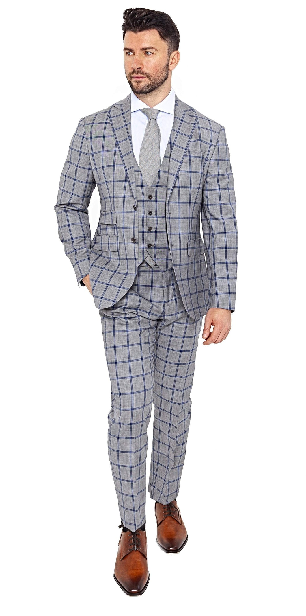Signature Suit Super 100s Grey Blue Windowpane 3-Piece Suit
