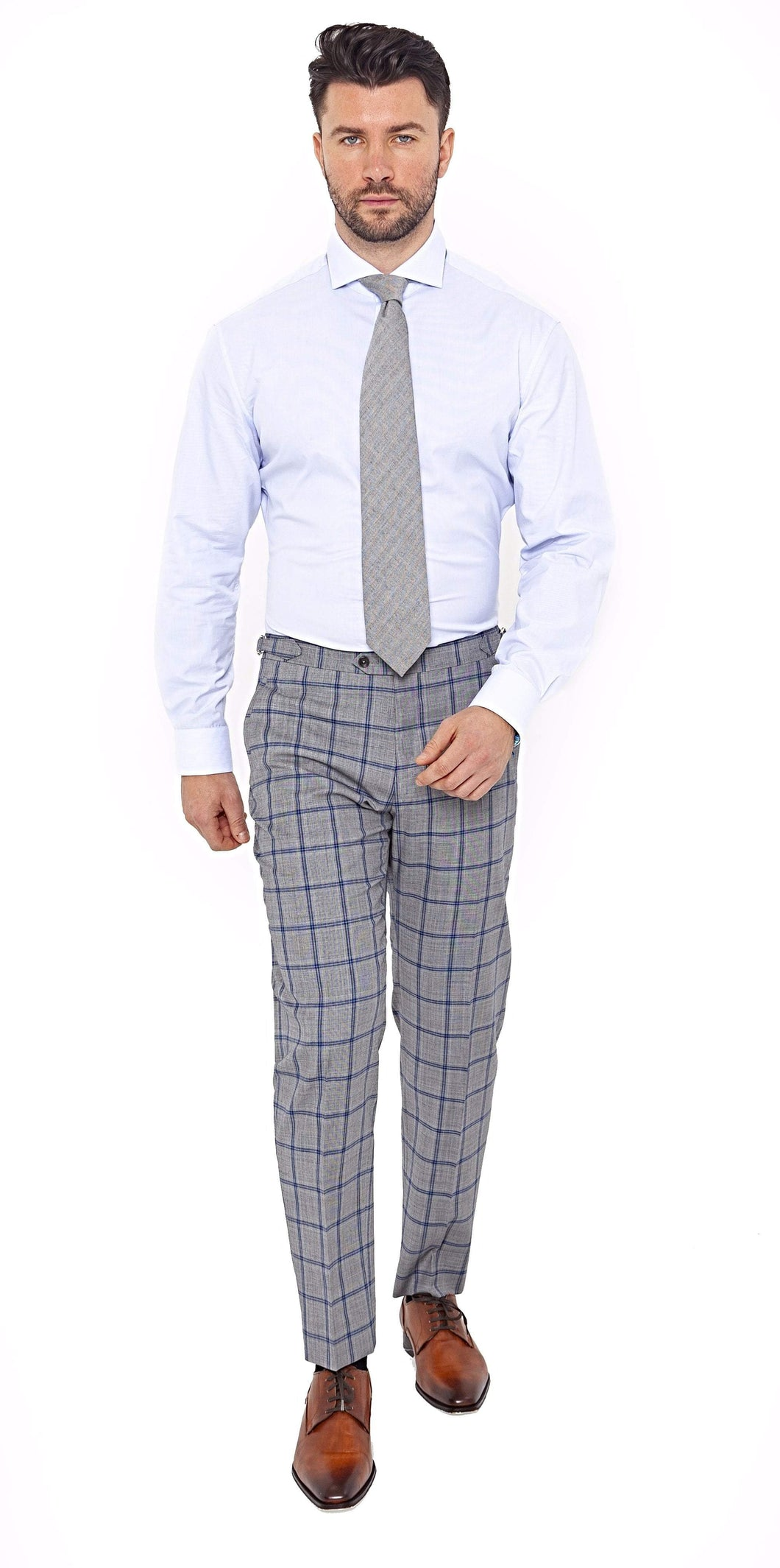 Super 100s Grey Blue Windowpane Trouser - Enzo Custom
