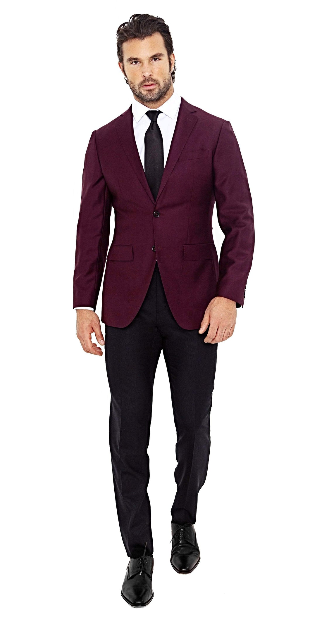 Super 120s Burgundy Jacket - Enzo Custom