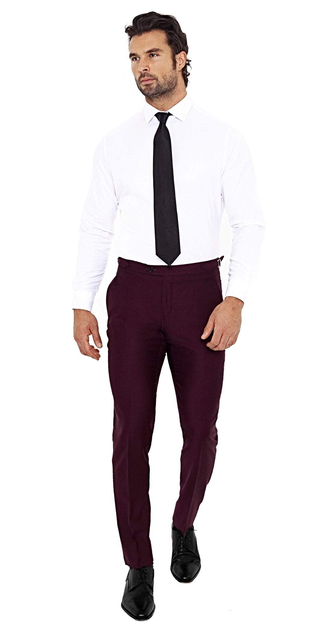 Super 120s Burgundy Trouser - Enzo Custom