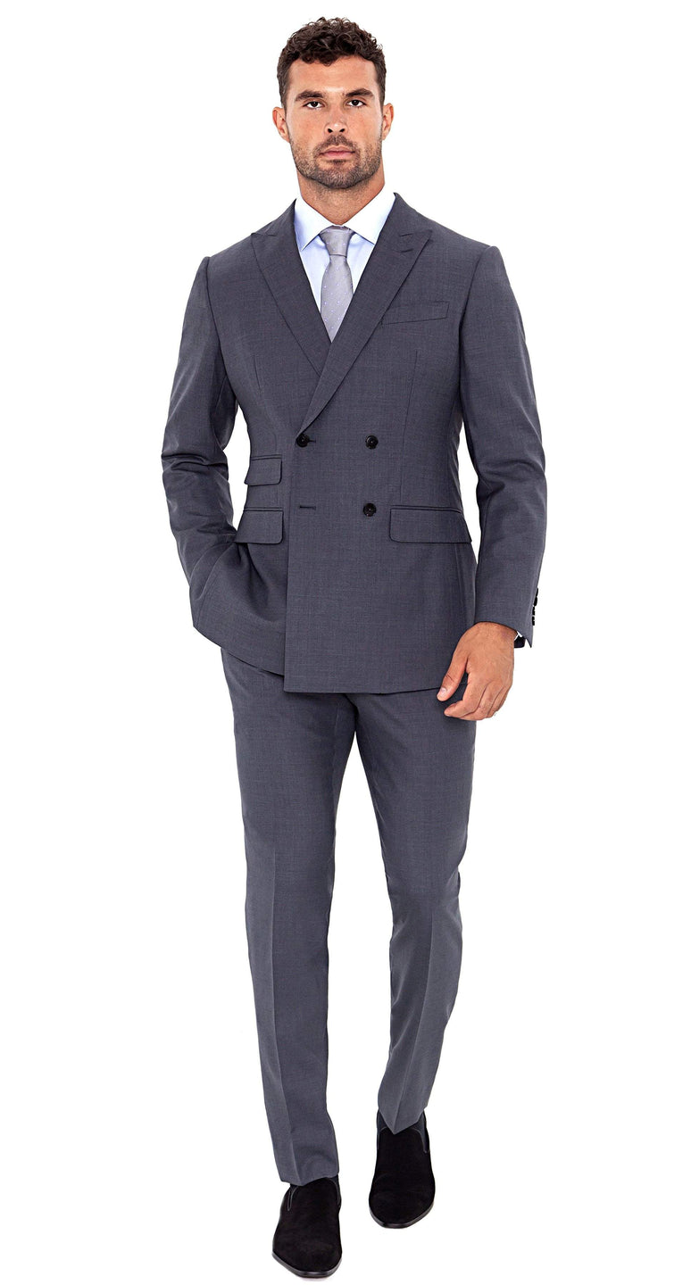 Signature Suit Super 120s Grey Double Breasted Suit