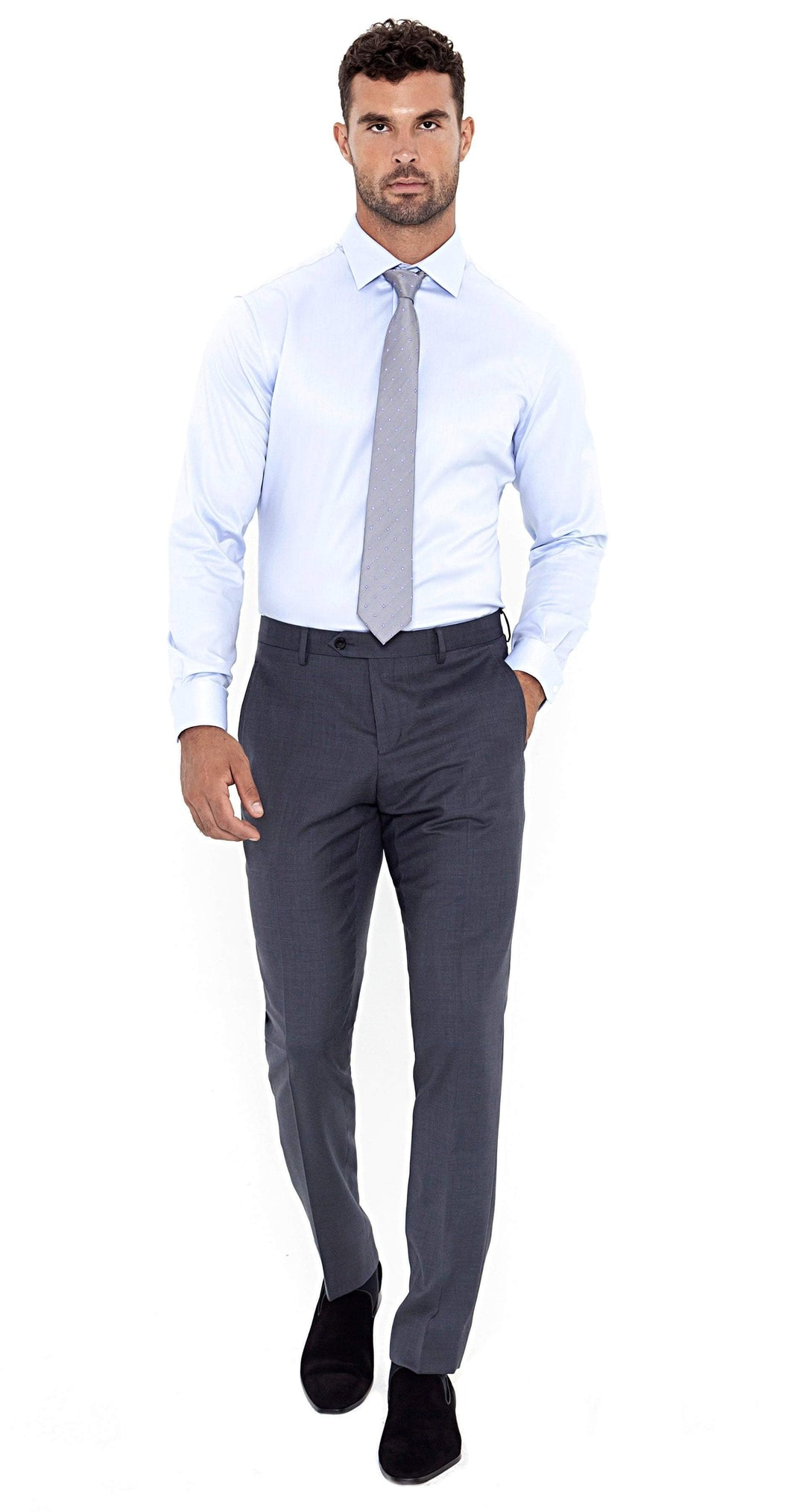 Super 120s Grey Trouser - Enzo Custom