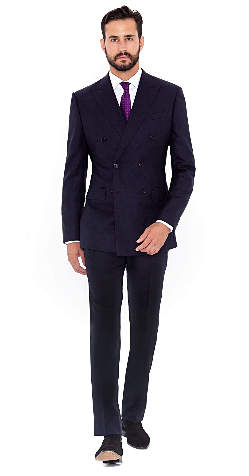 Signature Suit Super 120s Navy Double Breasted Suit