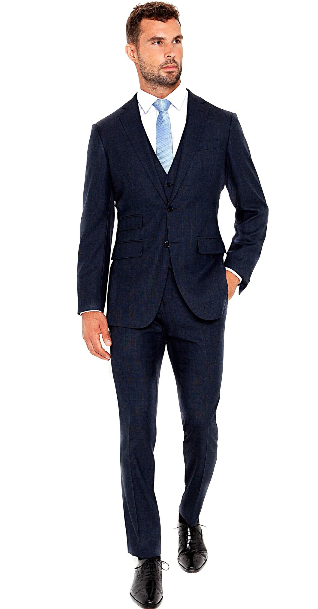 Enzo Sartori Suit Super 150s 3-Piece Blue Plaid Suit