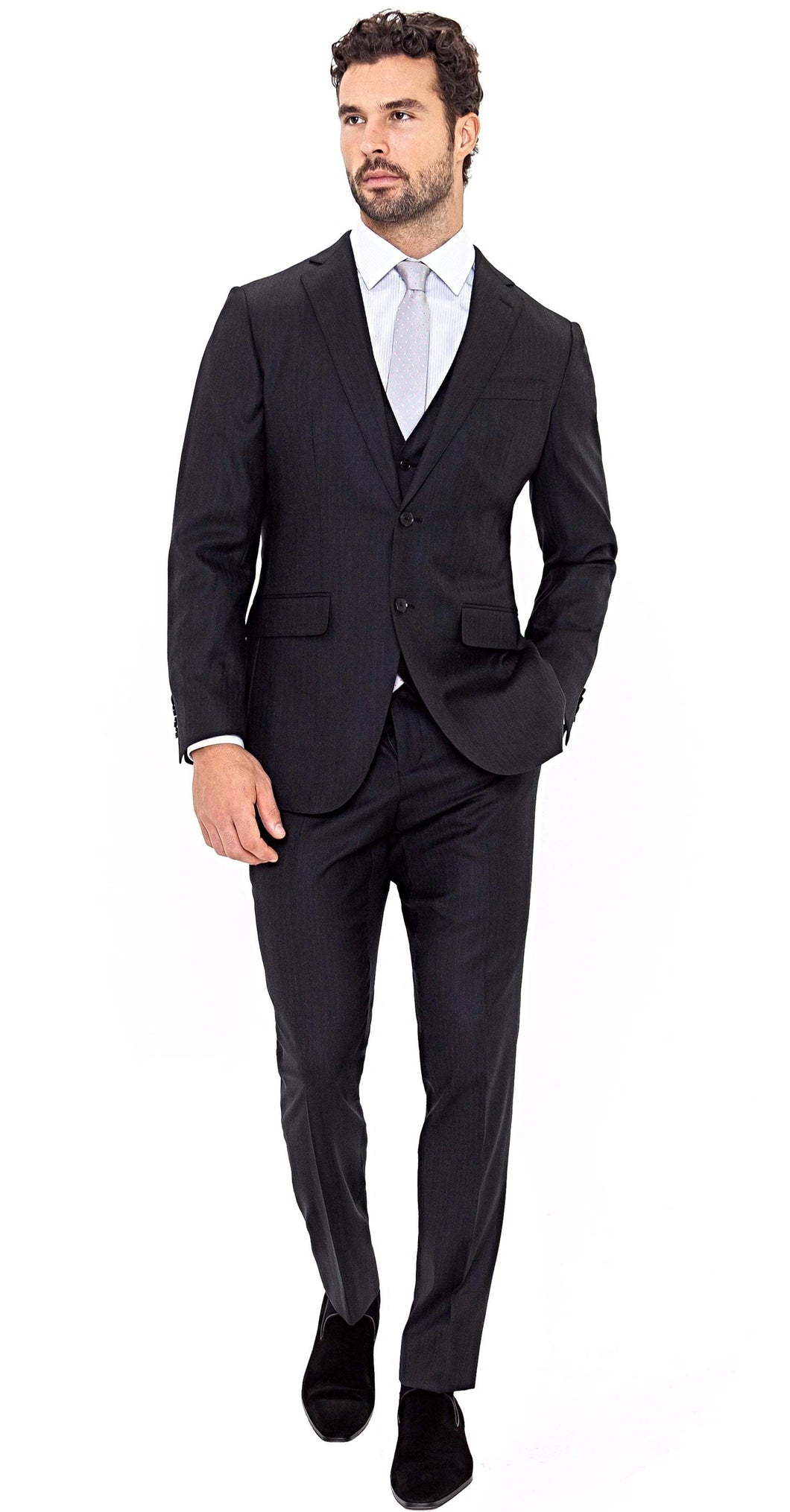 Super 150s 3-Piece Charcoal Herringbone Suit - Enzo Custom