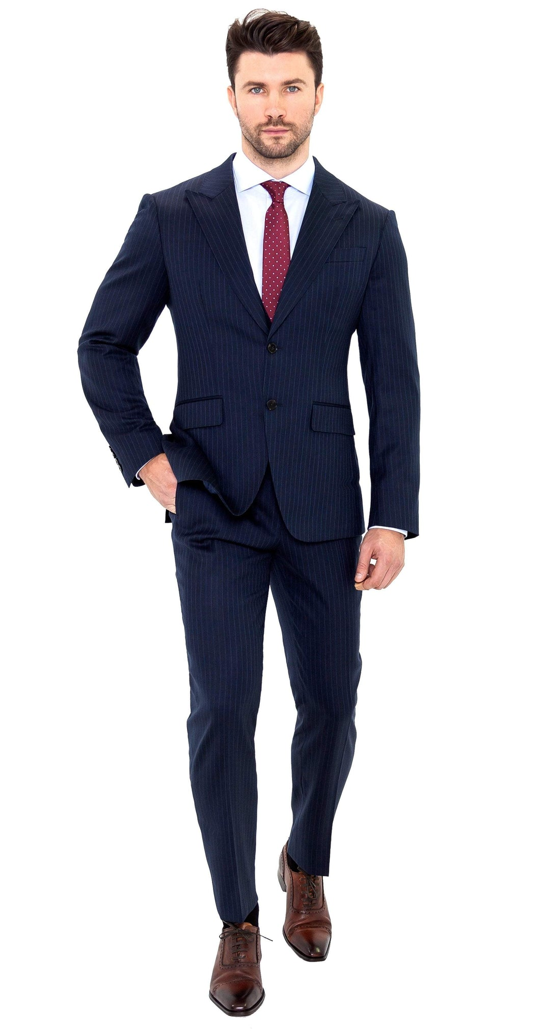 Enzo Sartori Suit Super 150s Blue Pinstripe Suit