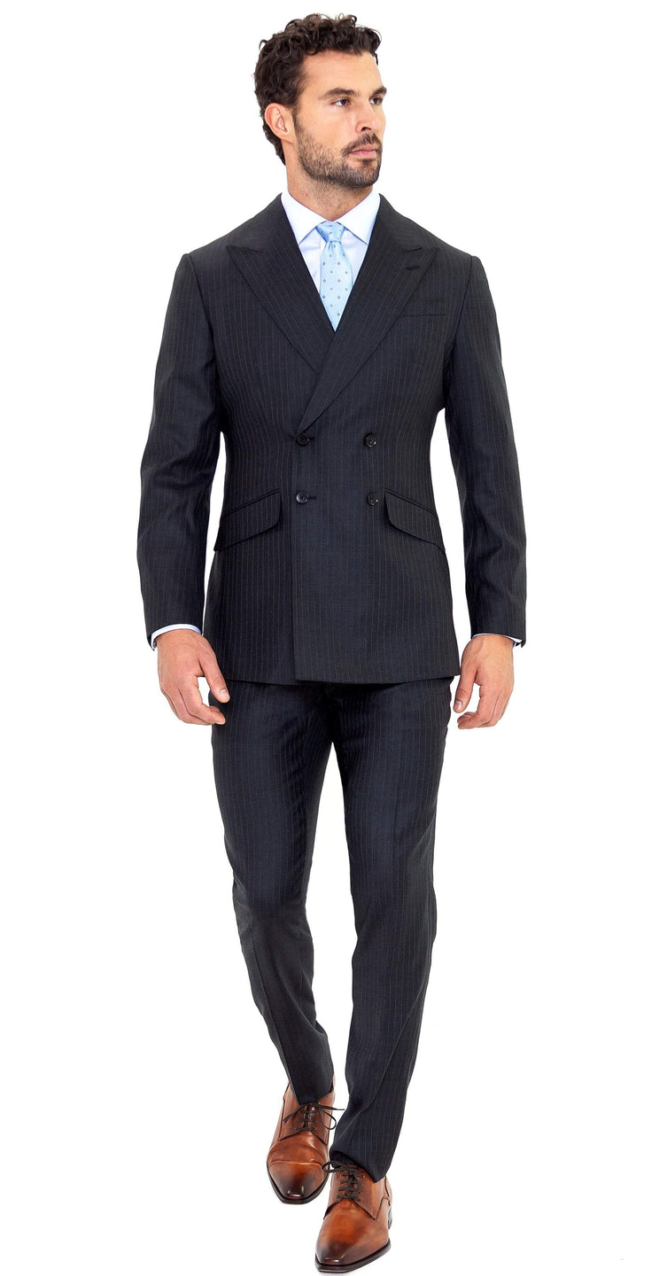 Enzo Sartori Suit Super 150s Grey Pinstripe Double-Breasted Suit