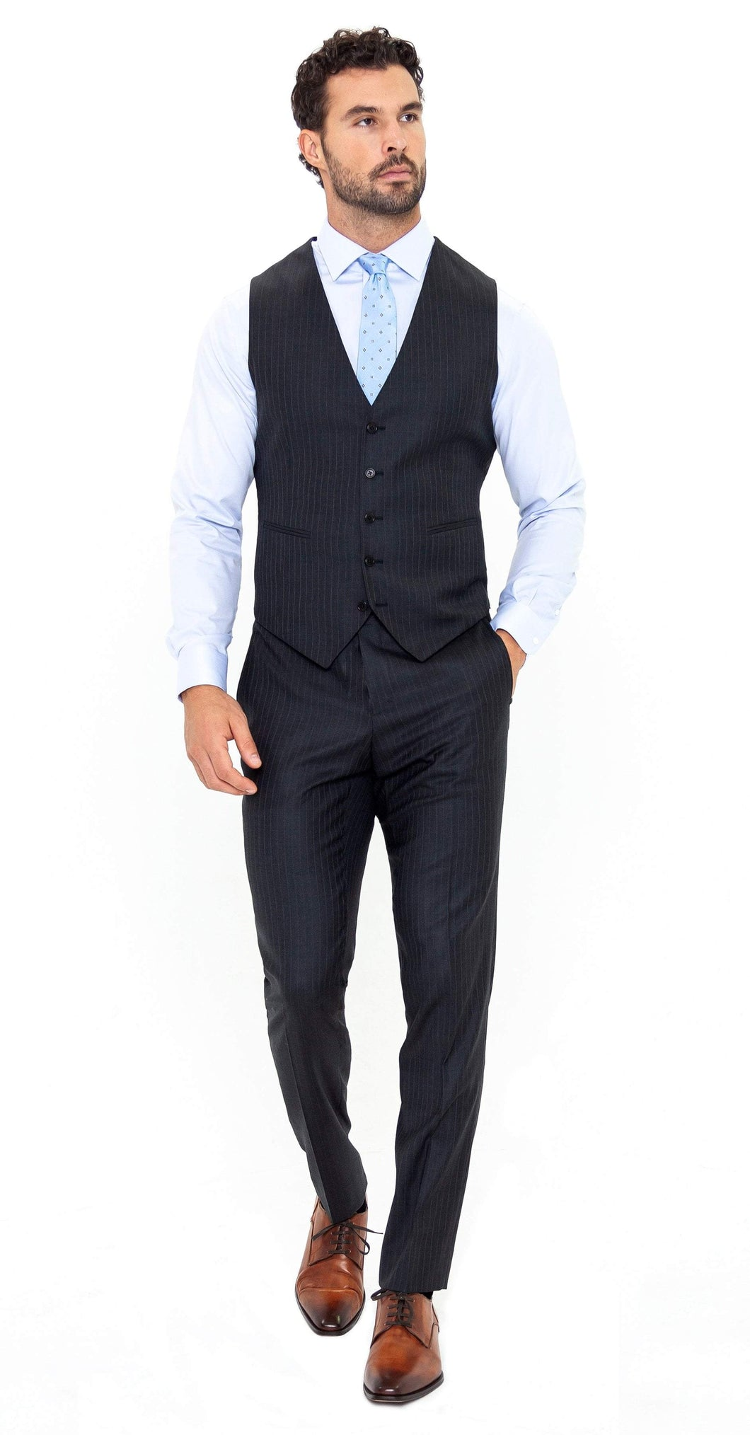 Super 150s Grey Pinstripe Vest - Enzo Custom