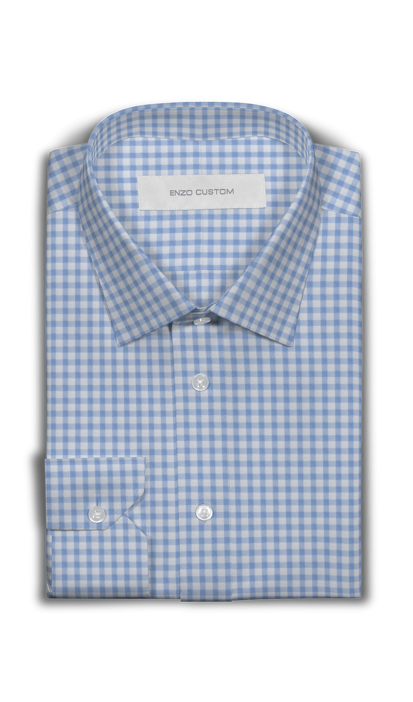 Signature Shirt White/Blue Check Cotton Dress Shirt