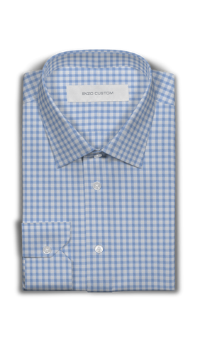 White/Blue Check Cotton Dress Shirt - Enzo Custom