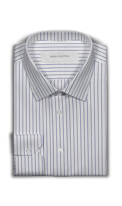 White/Blue Striped Dress Shirt - Enzo Custom