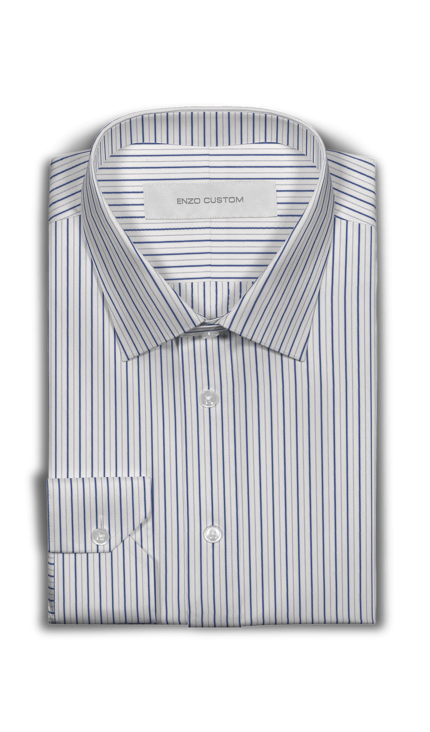 Signature Shirt White/Blue Striped Dress Shirt