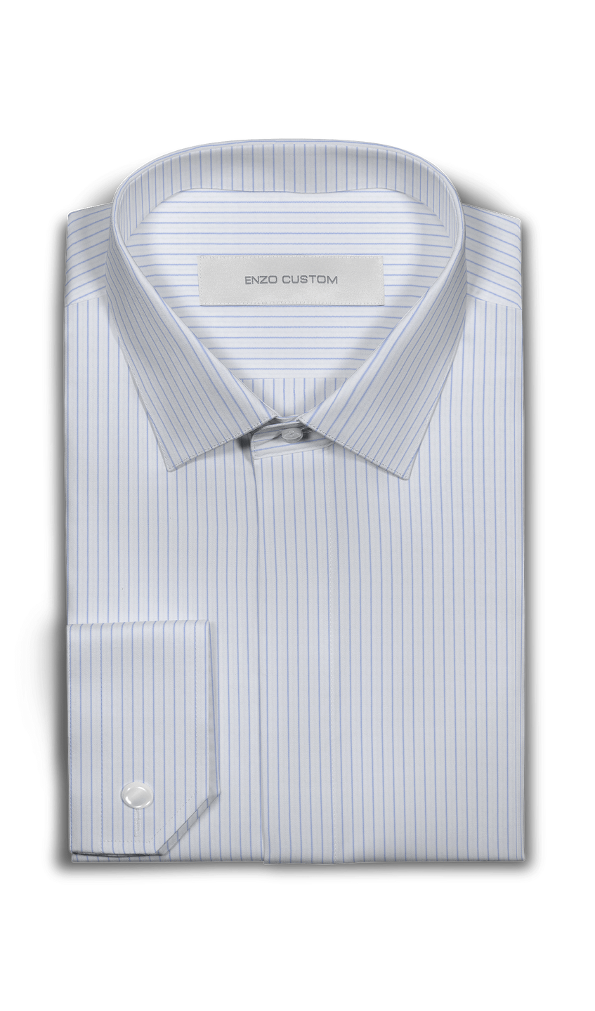Enzo Sartori Shirt White/Blue Striped Dress Shirt