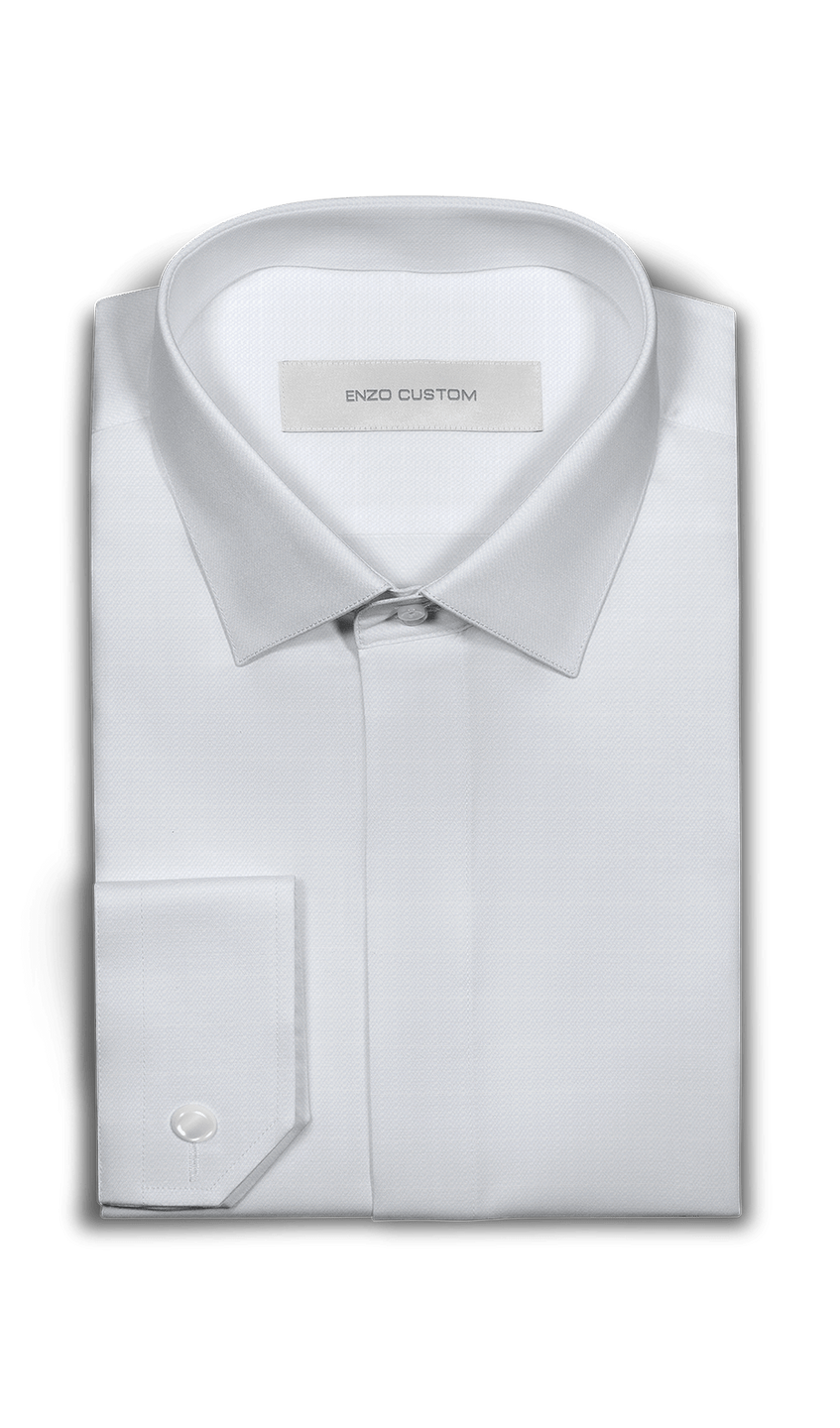 White Textured Dress Shirt - Enzo Custom