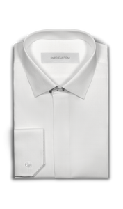 Enzo Sartori Shirt White Textured Tuxedo Shirt