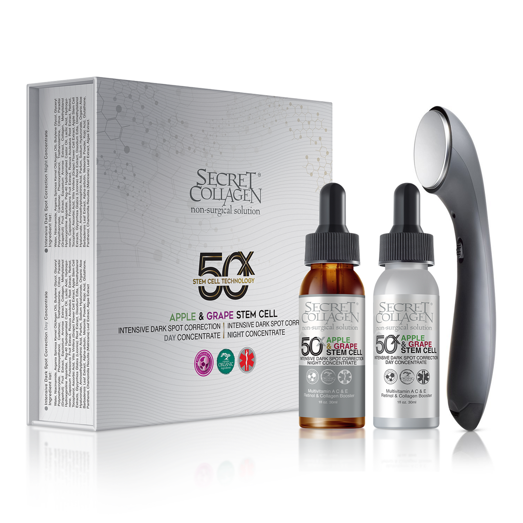 50X Apple & Grape Stem Cell Intensive Day and Night Dark Spot Correction with Skincare Infuser - Secret Collagen