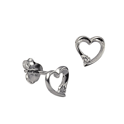 Open Heart with CZ Earrings